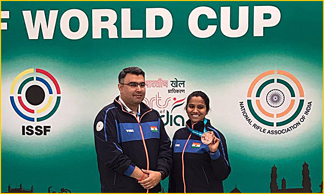 Pooja with mentor and Olympic medalist Gagan Narang