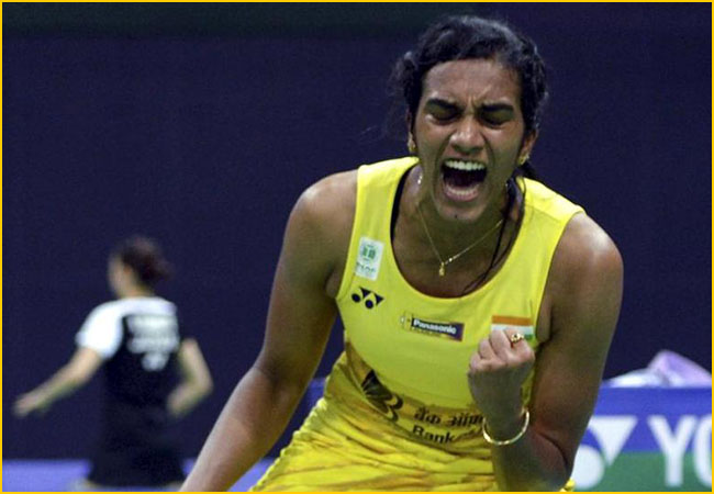 PV Sindhu in action